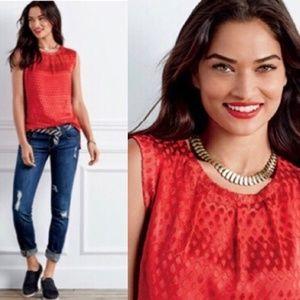 CAbi Patterned Red Scarlet Blouse #3130